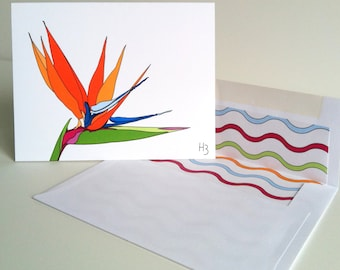 Bird of Paradise Tropical Flower Stationery with Lined Envelope Blank Inside Crane Floral Greeting Card  Genus Stralitzia Note cards