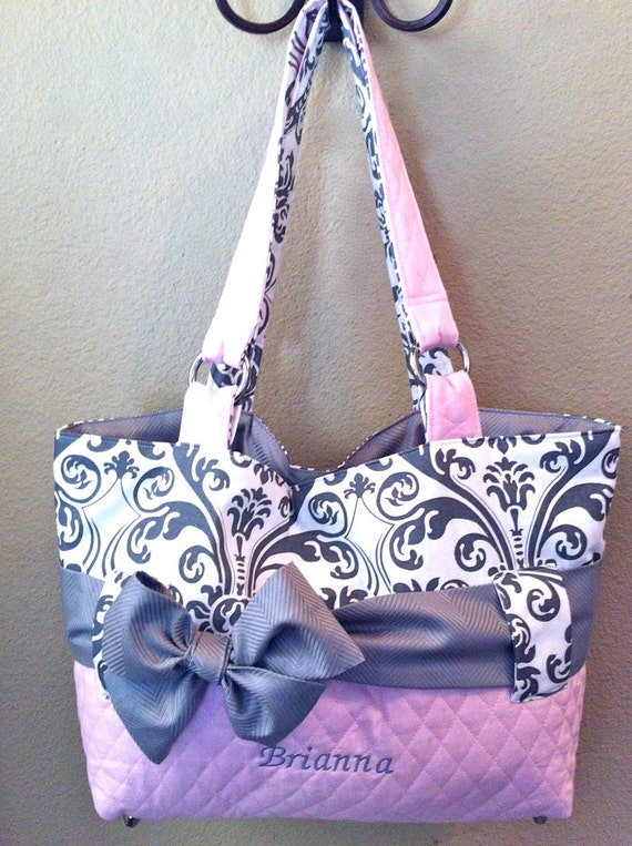 3 piece personalized diaper bag set in pink grey by ceejaze. Black Bedroom Furniture Sets. Home Design Ideas