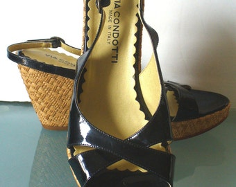 Via Condotti Made in Italy Patent Leather Platform Sandals Size 9m