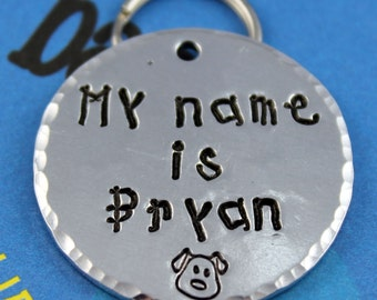 LARGE Dog Tag - Personalized handstamped Pet Tag - Custom Aluminum Dog ID Tag - Unique Font - Other Metals Available