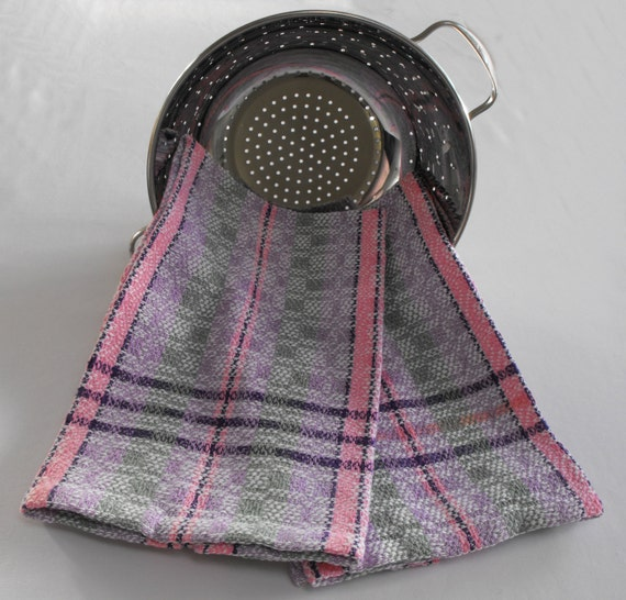 Kitchen Tea Towel Handwoven, Hand Woven Dish Towel, Lilac Green Pink Cotton Towel, Plaid Towel, Striped Cotton Towels, Gourmet Chef Towel