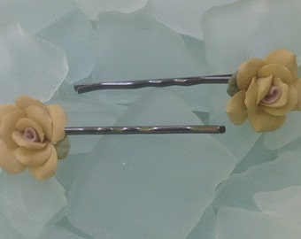 CAVIAR DREAMS Beautiful Vintage Porcelain Yellow Rose Flower Hair Bobby Pins Matching Pair - Etsy andersonhs