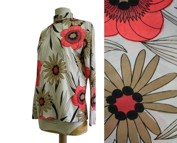 60's Mod Floral Top Long Sleeve