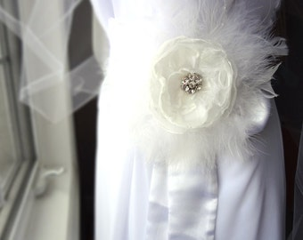 Bridal White feather and Organza flower hair Fascinator or Sash brooch with Crystals
