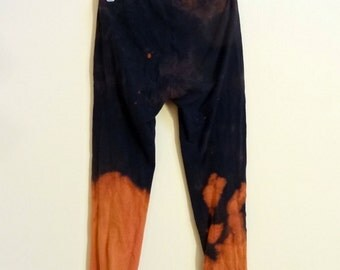 Bleached Black Ombre Mid Calf Leggings