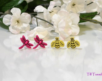 Tiny Post Earrings, Yellow Honey Bee, Pink Dragonfly