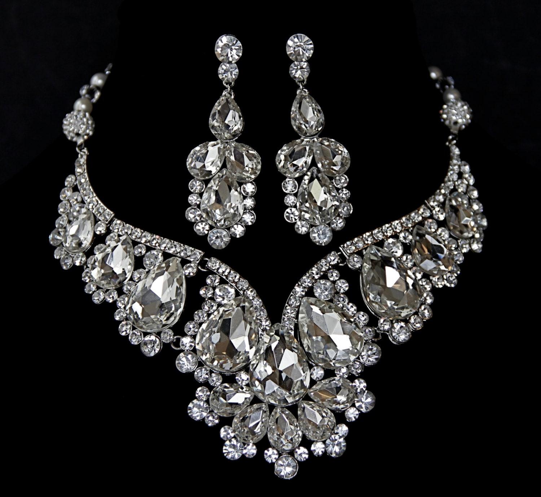 Vintage inspired bridal necklace set swarovski crystal for Swarovski jewelry online store