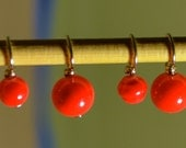 Red Glass Bead handmade stitch markers for knitting (Qty 12)