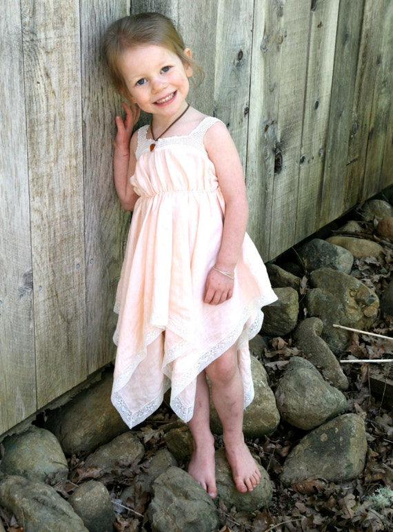 Vintage Peach Peasant style Sundress child by StarlitesChild
