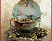 Antique Limoges Hand Painted Charles Martin Bowl and D & Co Saucer
