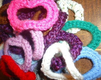 4 Assorted Custom Colored Hand Crocheted Ponytail Bands