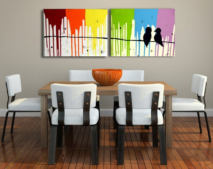 Love Bird Art on Canvas - Modern Rainbow Painting for Bedroom Livingroom Decor - Gay Wedding Gift, Pride Painting, LGBT Engagement Present