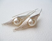 Silver Earrings Wire Wrapped Beige Pearl Dangle - Herringbone Technique,Handmade