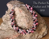 PDF Pattern File - Kumihimo Beaded Bracelet - Pink and Grey
