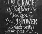 Scripture Art- 2 Corinthians 12:9 Print - Bible Verse  8 x10 Print - Typography Art - Chalkboard Art - Chalk Art - LilyandVal