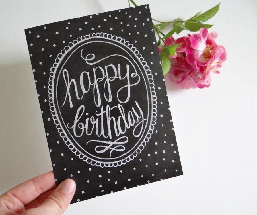 Happy Birthday Card Chalkboard Art Unique Birthday By LilyandVal
