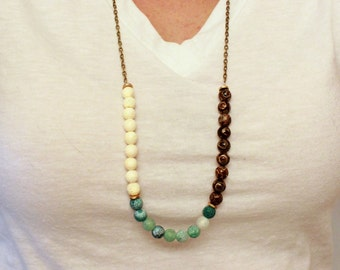 Super Long Stone Bead Necklace Brown Green White - Agate and Sponge Coral Jewelry - Boho Bohemian Natural