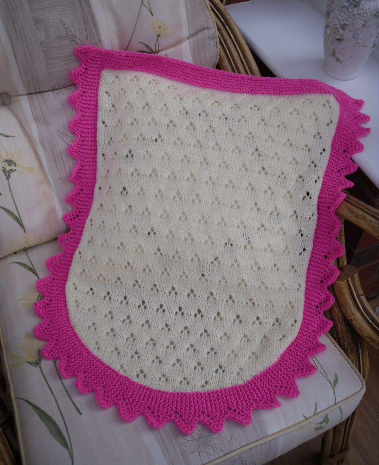 Knitted baby blanket car seat/ moses basket size lace