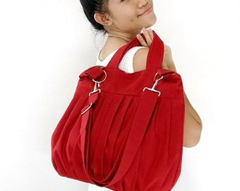 Canvas Bag Cotton bag Handbags Diaper bag Shoulder bag Hobo bag Tote bag Messenger Purse Everyday bag  Red  Martha