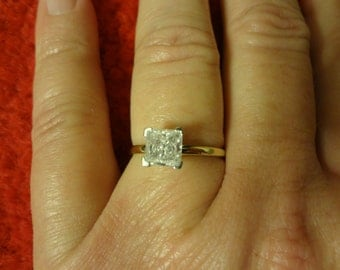 Diamond Engagement Ring Solitaire Wedding Band CZ Princess Cut Solitaire Promise Size 8.5