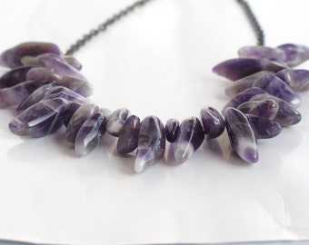 nature dogtooth amethyst beads with sterling silver chain necklace
