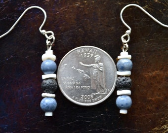 Blue Coral and Lave Earrings