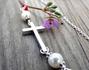 Rhodium Silver Cross Freshwater Pearl and Crystal Handmade Necklace Christian Religious Jewelry Easter