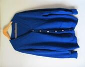 Vintage Men's Bright Blue Teal Turquoise Jantzen Cardigan Large Extra Large