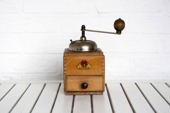 Large Vintage Circa 1940s Wooden Coffee Grinder Honey with Dovetail Finish by PE DE Diennes
