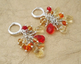 Wire Wrapped Cluster Earrings, Yellow Orange Ombre Cluster Earrings, Faceted Crystal Tear Drop,  Nature Inspired Earrings - ON SALE
