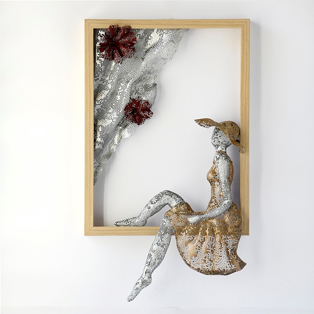 Metal wall art framed art women sculpture home decor for Bronze wall art