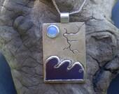 RESERVED*   Handmade mixed metal sterling silver, titanium, moonstone stormy seas pendant