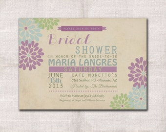 5x7 Bridal Shower invitation custom printable