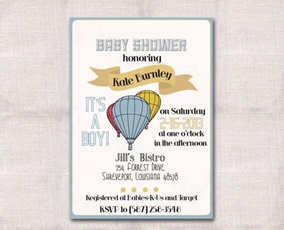 Hot Air Balloon Baby Shower Custom Printable Invitation 5x7