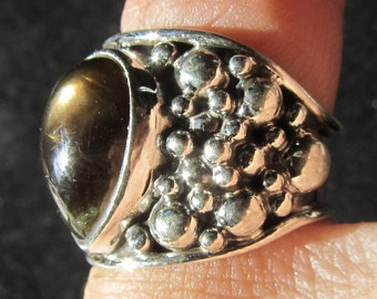 Black Sapphire Ring Teardrop Sterling Silver Bubble Ring Size 6 US