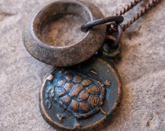 Solid Bronze Turtle Necklace and Ethiopian Brass Ring Old Greek Coin Rustic