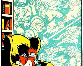 My FAV Child Reading Vintage ILLUSTRATION. Reading Digital Download. Vintage Book Print.