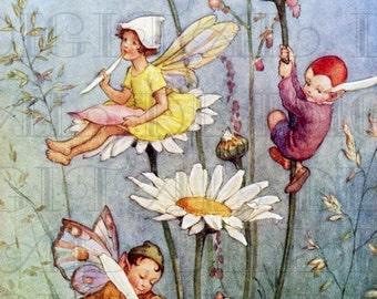 Fairy Writing On FLOWERS.  Vintage Book Plate Illustration. Fairy Digital Download. Vintage Digital PRINT