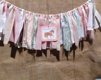 Western Cowgirl Shabby Chic Highchair Banner, Photo prop, Party- birthday chair decor