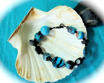 12 Step Bracelet in Aqua and Black