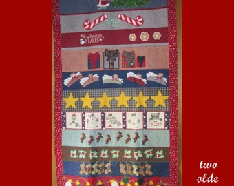 Twelve Days of CHRISTMAS Row Quilt Large Long ooak Wall Art Custom Quilted
