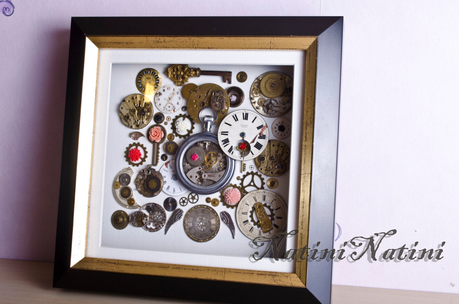 3d art steampunk wall decor vintage watch parts. Black Bedroom Furniture Sets. Home Design Ideas