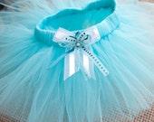 Sky blue tutu skirt (marine blue, aqua) with handmade bow (size - 6-12M), photo props