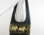 USA SHIPPING** Black Vintage Elephants Cross body ,Shoulder bag,Hippie,Cotton, Boho Hobo , Messenger Bag E-HG01