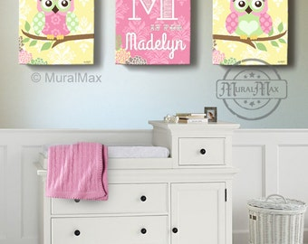 canvas prints for baby room. Floral Owl Girls Wall Art - Custom Personalized OWL Canvas Art, Baby Nursery Prints For Room A