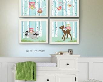 Custom Baby Girl Room Wall Art Floral Owl Nursery Wall by MuralMAX