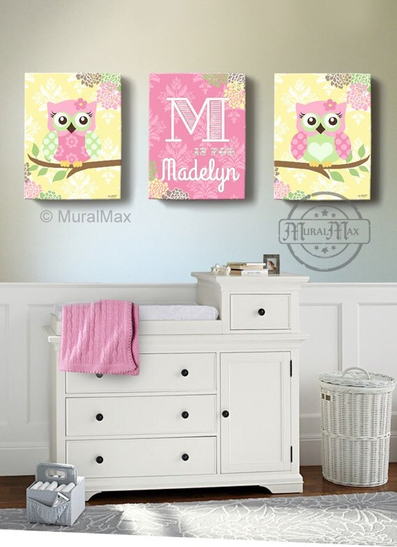 Floral Owl Girls Wall Art Custom Personalized OWL Canvas