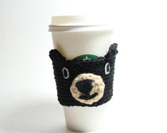 Black Bear Coffee Cozy, Coffee Sleeve, Crochet Can Holder, Animal Drink Cup Holder, Java Jacket