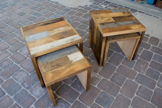 reclaimed pallet and barn wood nesting tables coffee side