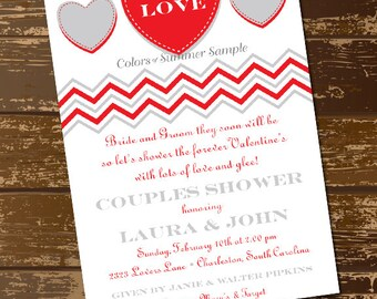 Heart Bridal Shower Invitation, Love Invitation, Valentine's Day Invitation, Bridal Shower Invite, Valentine's Day Bridal Shower Invite